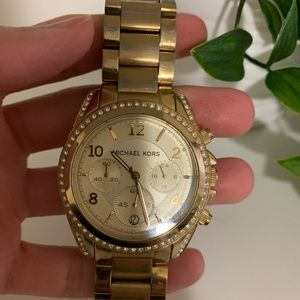 Large Micheal Kors Watch gold with jewels